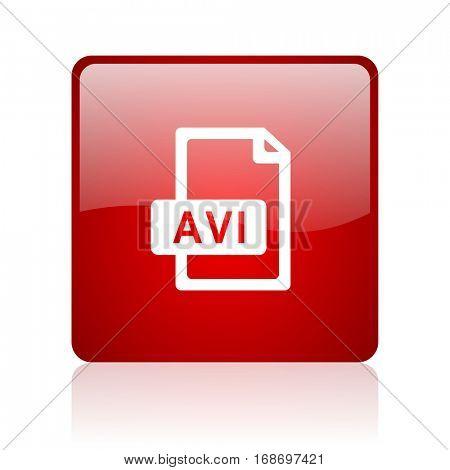 avi file red square web glossy icon.