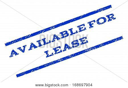 Available For Lease watermark stamp. Text tag between parallel lines with grunge design style. Rotated rubber seal stamp with unclean texture. Vector blue ink imprint on a white background.