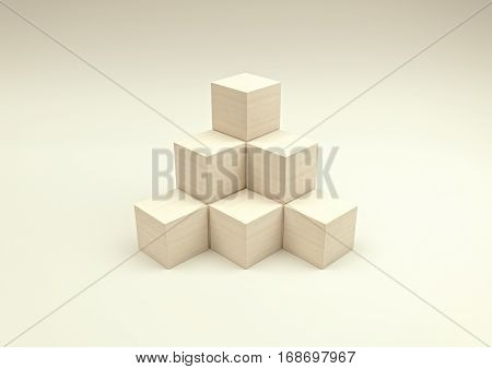 stack in the shape of a pyramid of stacked wooden cubes 3d illustration