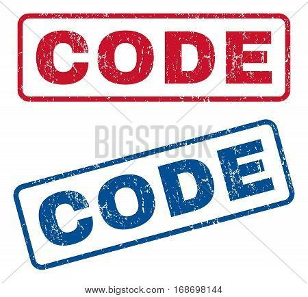 Code text rubber seal stamp watermarks. Vector style is blue and red ink tag inside rounded rectangular shape. Grunge design and unclean texture. Blue and red stickers.
