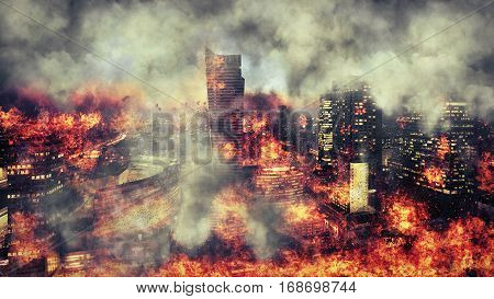 Apocalypse. Burning city abstract vision. Photo manipulation
