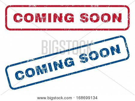 Coming Soon text rubber seal stamp watermarks. Vector style is blue and red ink tag inside rounded rectangular banner. Grunge design and dust texture. Blue and red signs.