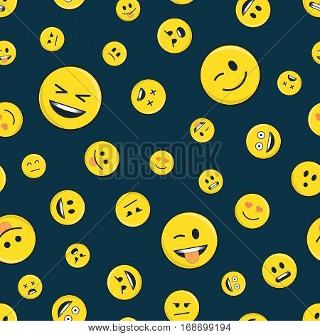 Seamless line pattern with emoticons on dark background. Yellow emoji vector background. Smiles face texture template. Modern smileys for textiles, interior design, for book design, website Background