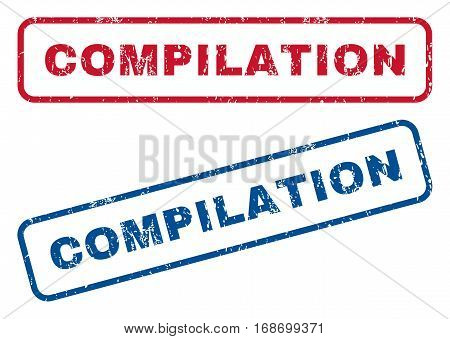 Compilation text rubber seal stamp watermarks. Vector style is blue and red ink caption inside rounded rectangular banner. Grunge design and dirty texture. Blue and red signs.