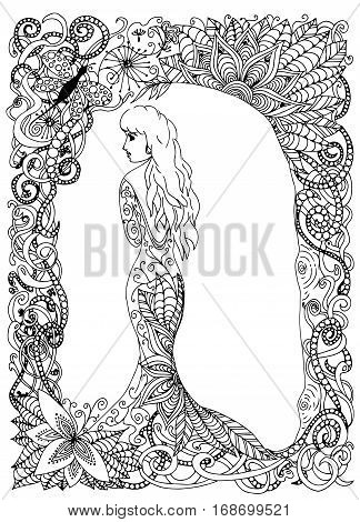 beautyful girl, princess, long dress, Vector illustration. Doodle drawing. Meditative exercise. Coloring book anti stress for adults. Black and white.