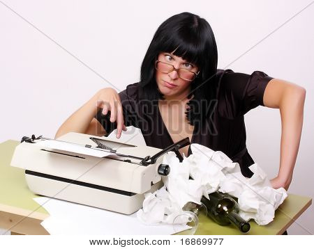 Ugly, lame girl in office - conceptual image