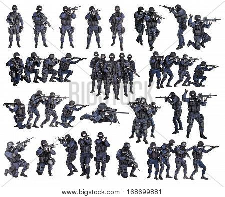 Set of police officers SWAT studio shot isolated on white background