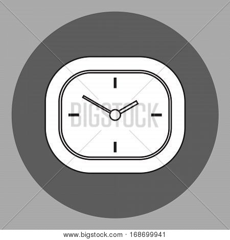 Vector black and white analog desk clock. Outlines in front flat view. Isolated object on grey background