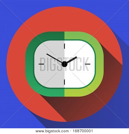 Vector green analog desk clock. Front view flat style illustration.