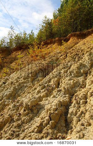Damaged landscape of mud deeply cracked by erosion of the rain
