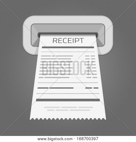 Sales printed receipt on ATM. Shopping paper bill atm vector concept. Vector illustration of Paper check and financial check isolated on grey background. Receipt, invoice vector icon.