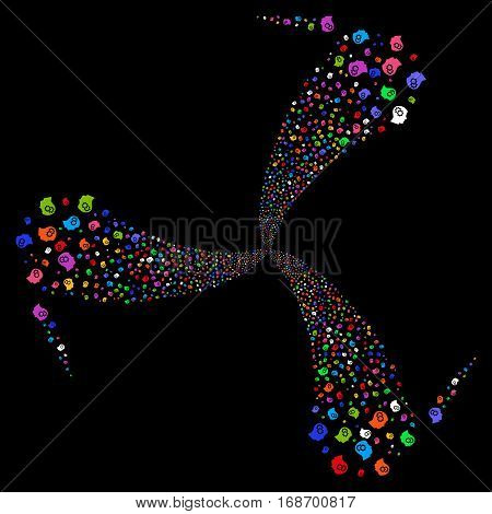 Intellect Gears fireworks swirl rotation. Vector illustration style is flat bright multicolored iconic symbols on a black background. Object twirl made from random pictograms.