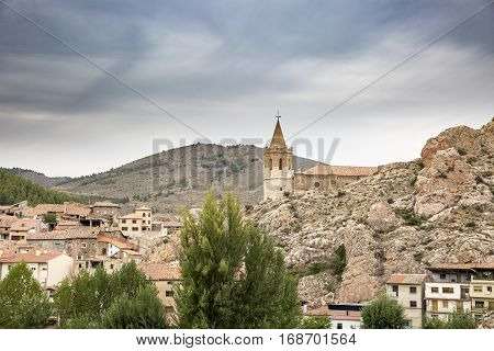 a view over Montalban town and the Church of Santiago, province of Teruel, Spain