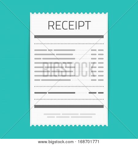 Receipt icon in a flat style isolated on a colored background. Invoice sign. Bill atm template or restaurant paper financial check. Concept Paper receipts icons.