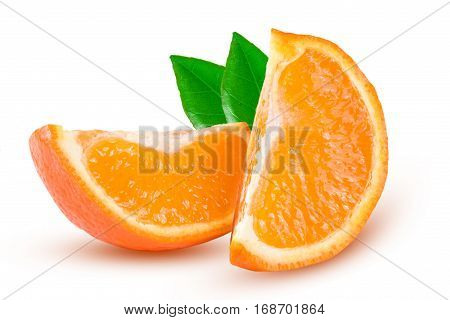 Two slices of of orange tangerine or Mineola with leaf isolated on white background.