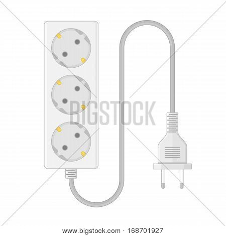 Extension cable cord isolated on white background. Electrical triple white plastic power socket strip and europe type plug. Vector illustration in realistic style. EPS10.