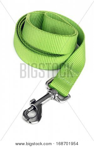 Green dog leash isolated on white.