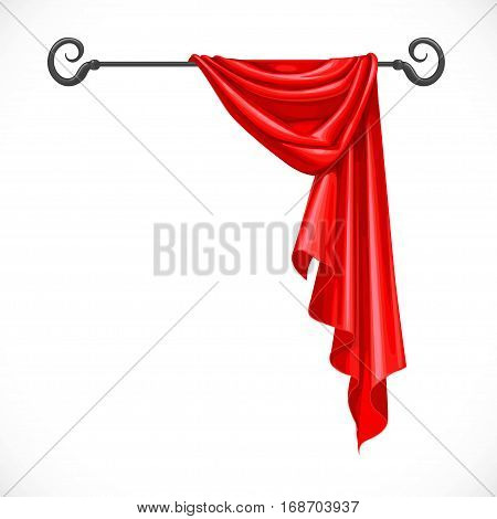 Red Drapery Hanging On Forged Cornice Isolated On A White Background