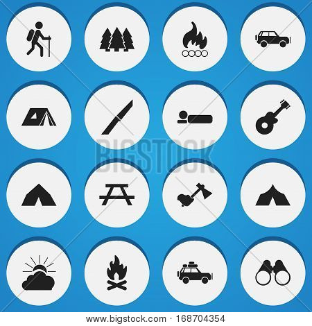 Set Of 16 Editable Travel Icons. Includes Symbols Such As Knife, Sport Vehicle, Gait And More. Can Be Used For Web, Mobile, UI And Infographic Design.