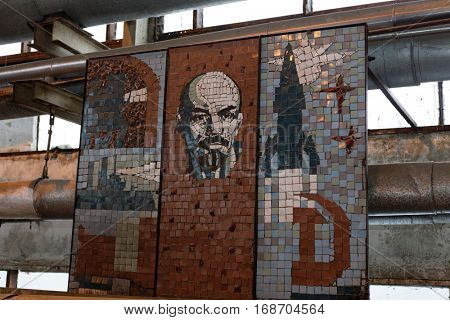ST. PETERSBURG, RUSSIA - DECEMBER 16, 2016: Old Soviet decorations in the boiler plant Parnas. It is the largest heat energy source in Northern Europe