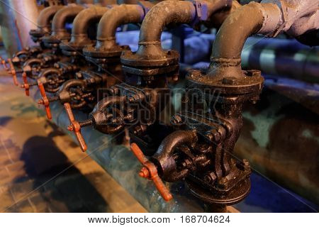 ST. PETERSBURG, RUSSIA - DECEMBER 16, 2016: Industrial valves in the boiler plant Parnas. It is the largest heat energy source in Northern Europe