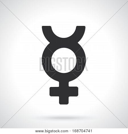 Vector illustration. Silhouette of transgender Mercury symbol. Gender pictogram. Template or pattern. Decoration for greeting cards, wallpapers, emblems