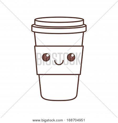 kawaii plastic cup coffee beverage portable cap vector illustration eps 10