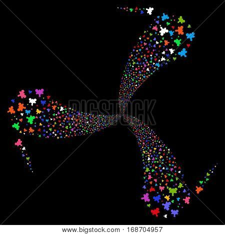 Plugin fireworks swirl rotation. Vector illustration style is flat bright multicolored iconic symbols on a black background. Object whirlpool made from random design elements.