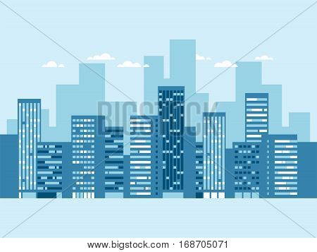 Urban landscape with buildings and clouds. Blue city silhouette. Cityscape background. Vector illustration.