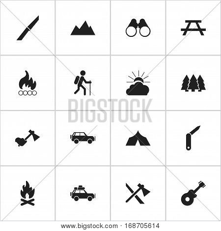 Set Of 16 Editable Trip Icons. Includes Symbols Such As Peak, Pine, Ax And More. Can Be Used For Web, Mobile, UI And Infographic Design.