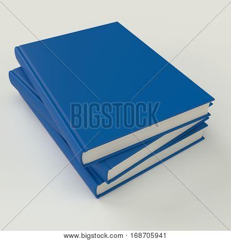 Blue book pile mock up 3d illustration