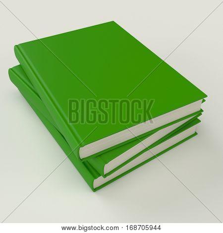 Green book pile mock up 3d illustration