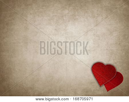 Old Rusty Paper with Red Hearts Over in a Love Letter Concept