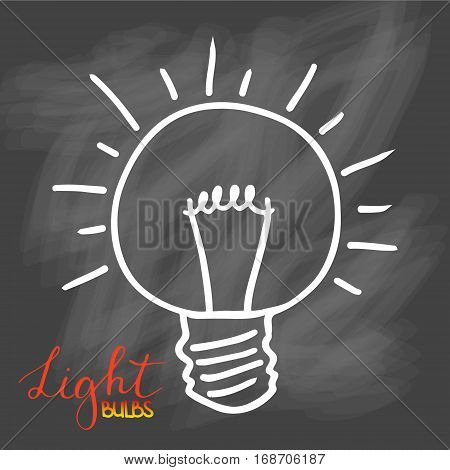Light bulbs icon. Concept of big ideas inspiration, innovation, invention, effective thinking. CFL lamp.  Isolated. Vector illustration.  Idea symbol. Vector. sketch. Sign. On chalk background