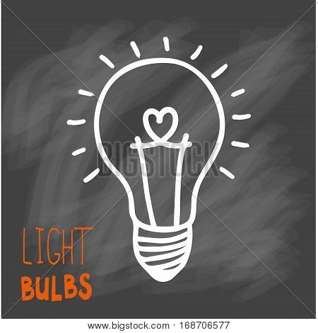 Light bulbs icon. Concept of big ideas inspiration, innovation, invention, effective thinking. CFL lamp.  Isolated. Vector illustration.  Idea symbol. On chalk background