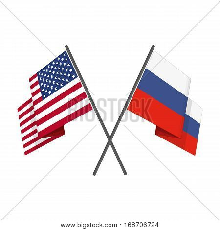 American and Russian crossed flags. Vector illustration of two Flags - United States of America USA with Russian Federation isolated on white background.