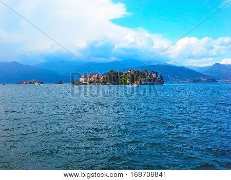 Landscape view with Isola Bella Island on Maggiore lake alps Stresa Italy