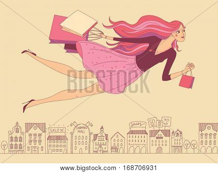 Beautiful woman flying over the city with a few shopping bags hurrying to get to the sales. Beautiful woman on cloud nine after shopping. Concept of shopping.