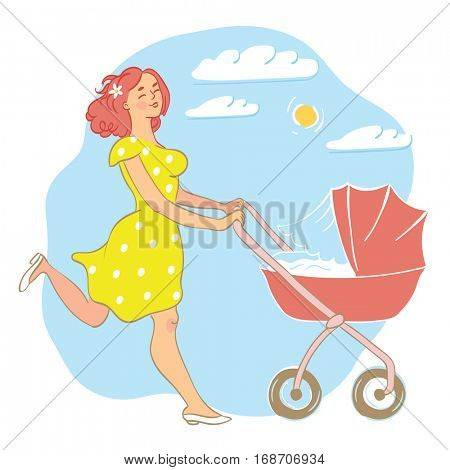 Skipping, happy mother, wearing a yellow dress with white spots, pushing a pram/stroller outside on a sunny, blue sky day.