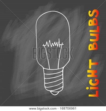 Light bulbs icon. Concept of big ideas inspiration, innovation, invention, effective thinking. CFL lamp.  Isolated. Vector illustration.  Idea symbol. Vector. sketch. Sign. On chalk background poster