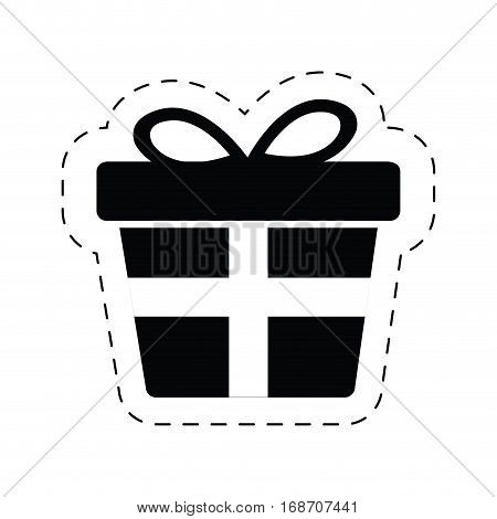 box gift wrapped ribbon bow cut line vector illustration eps 10