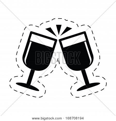 cups champagne drink celebration clink pictogram vector illustration eps 10
