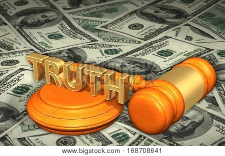 Truth Legal Gavel Concept 3D Illustration