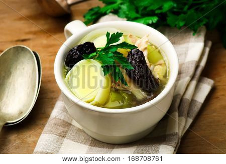 Cock-a-Leekie soup . . .  selective focus