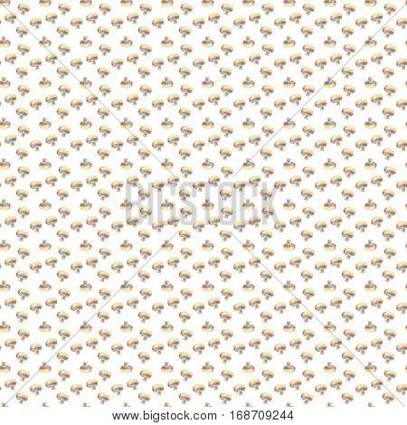 Small mushrooms champignon on white background. Watercolor hand made. Seamless colorful pattern. Could be used for textile or in design