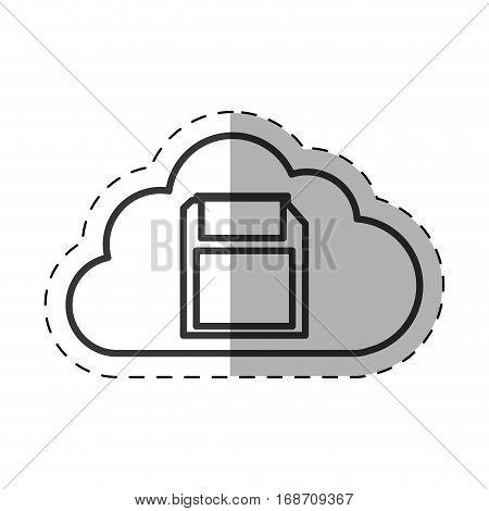 cloud floppy backup device technology thin line vector illustration eps 10