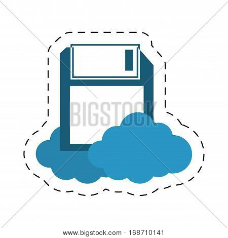 floppy storage diskette cloud cut line vector illustration eps 10