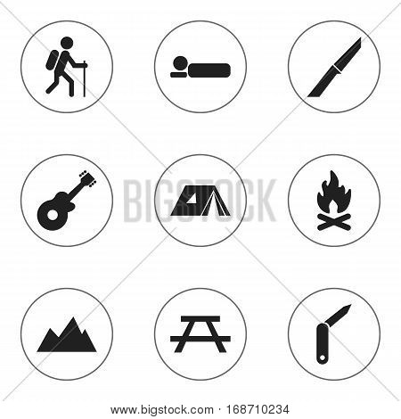 Set Of 9 Editable Trip Icons. Includes Symbols Such As Fever, Gait, Clasp-Knife And More. Can Be Used For Web, Mobile, UI And Infographic Design.