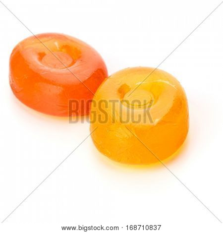 Two colorful fruit hard sugar candies,  boiled sweeties or sugar plums isolated on white background cutout.