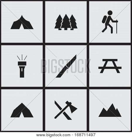 Set Of 9 Editable Camping Icons. Includes Symbols Such As Desk, Gait, Tepee And More. Can Be Used For Web, Mobile, UI And Infographic Design.